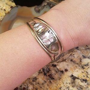 Alpaca Mexico Small abalone cuff bracelet GUC